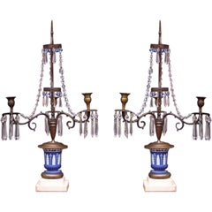 Pair of English Bronze and Wedgewood Three Arm Two Tiered Candelabras. C. 1790