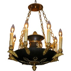 French Regency Gilt Bronze and Painted Chandelier