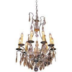 French Silver Gilt Bronze and Crystal Chandelier