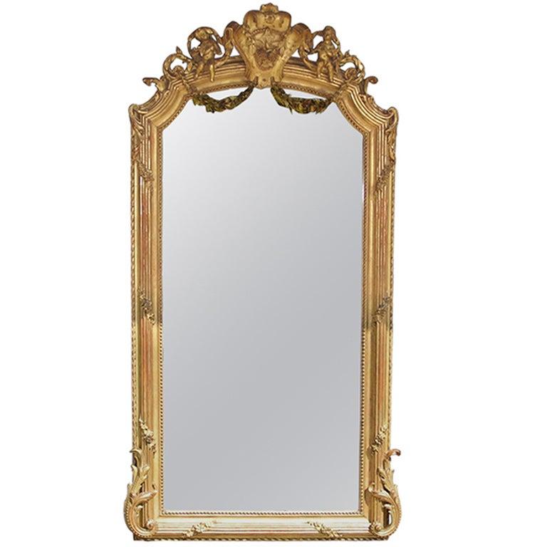 French Carved Cherub Gilt Mirror