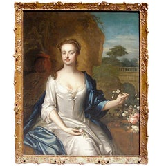 English Oil On Canvas of Mrs. Spencer, Winston Churchill's Mother.  18th Century