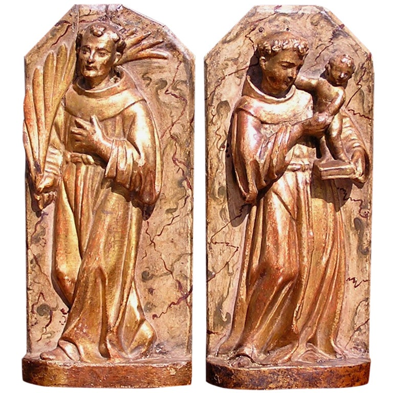 Pair of Italian Gilt Wood Poly Chromed Religous Figures