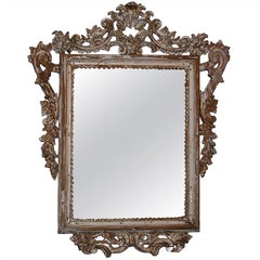 Italian Painted and Silver Gilt Mirror