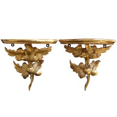 Pair of American Gilded Wall Brackets