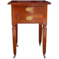 American Cherry Two Drawer Stand on Brass Casters. NY,  Circa 1815