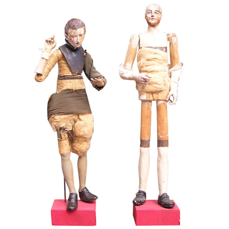 Pair of Italian Santibelli  Figures on Stand