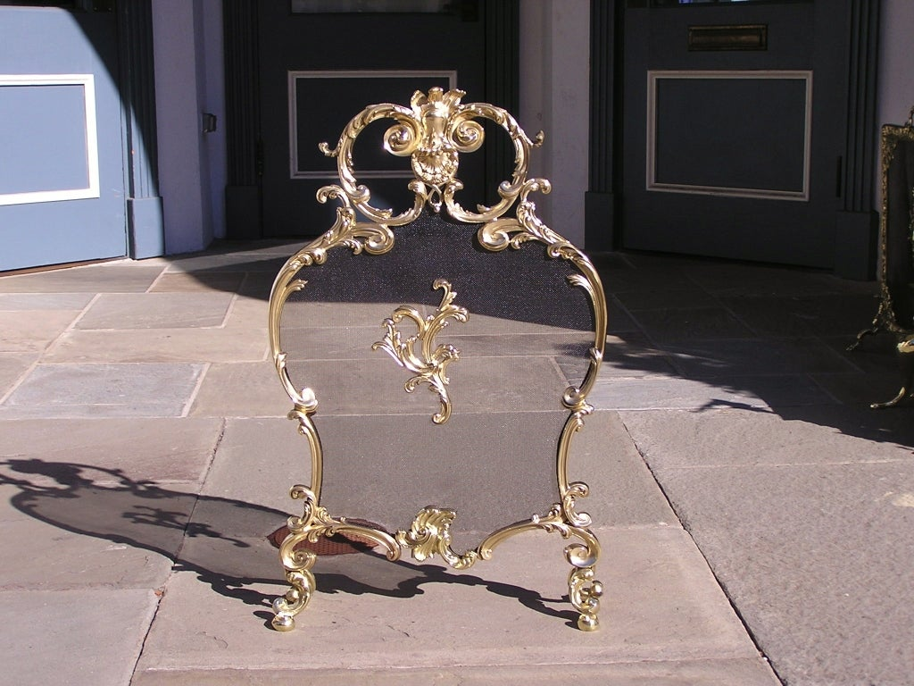 french fireplace screens. French Brass Rococo Fire Screen 2 For Sale at 1stdibs