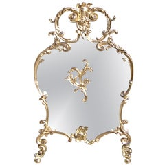 French Brass Rococo Fire Screen