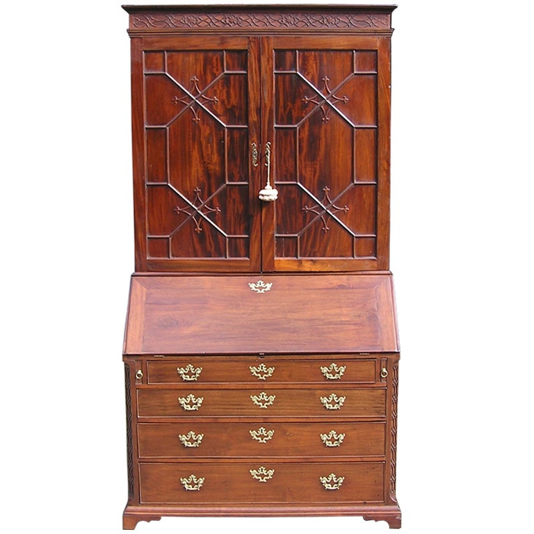 English Mahogany Secretary with Blind Door Bookcase.  Circa 1770