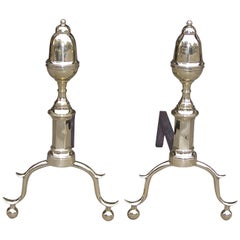 Pair of American Brass Acorn Top Andirons,  NY