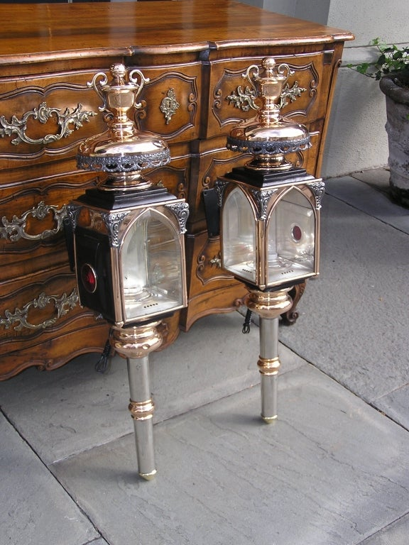 Pair of American nickel silver over copper & brass coach lanterns with urn  finials, floral - Pair Of American Nickel Silver And Brass Coach Lanterns, Rochester