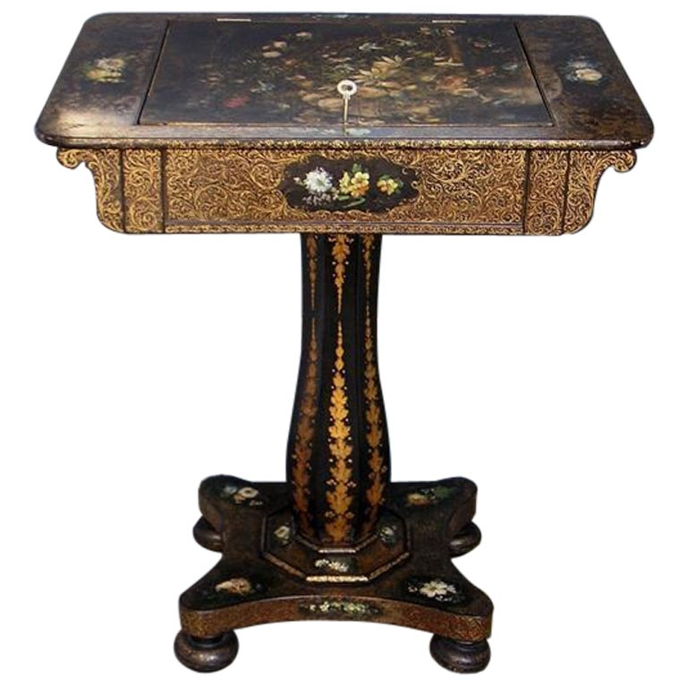 French Paper Mache Writing Table At 1stdibs