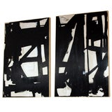 Monumental Pair of Original Signed Abstract Paintings (4 ft.x 6 ft. each panel)