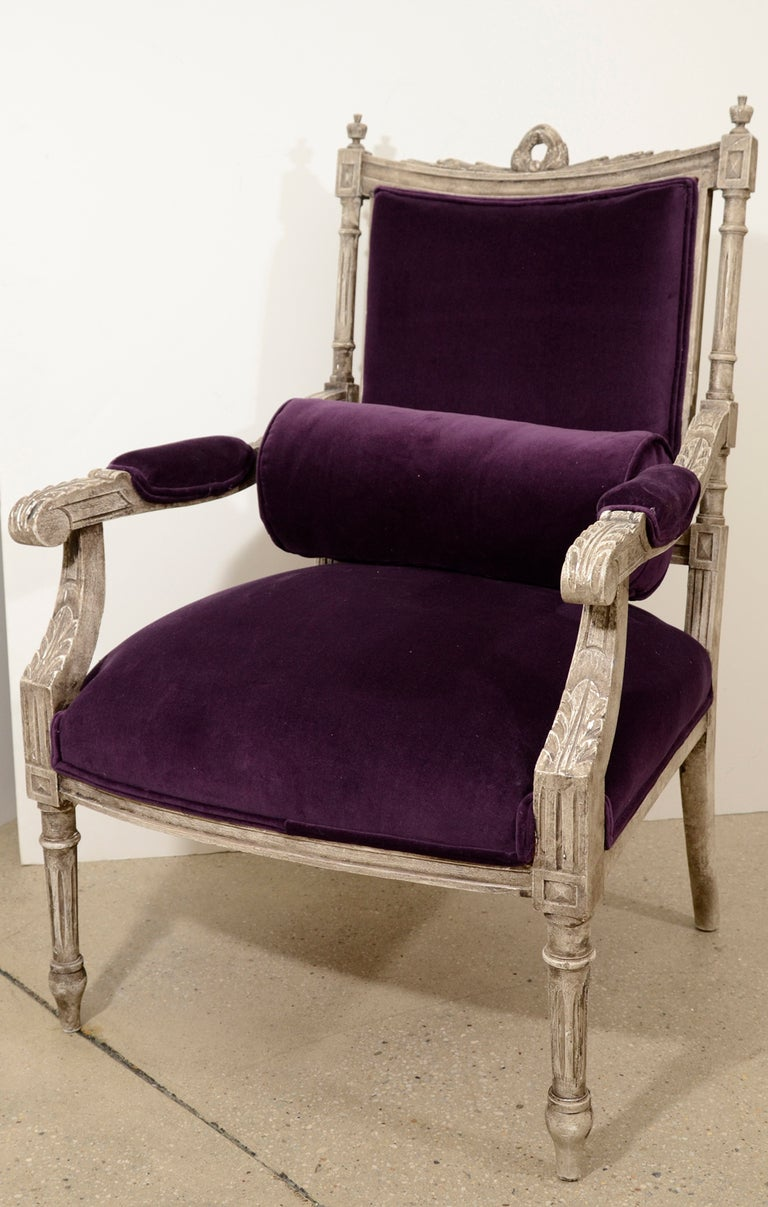 Pair of French Louis XVI Painted Armchairs in Purple Velvet 9