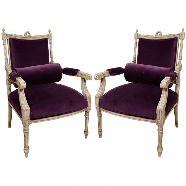 Pair of French Louis XVI Painted Armchairs in Purple Velvet 1
