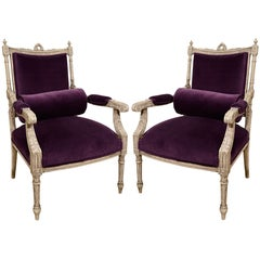 Pair of French Louis XVI Painted Armchairs in Purple Velvet