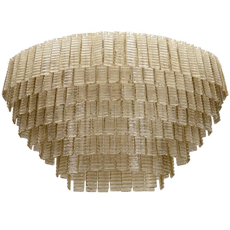 Impressively Large Venini Style, Smoke Murano Glass Chandelier 1