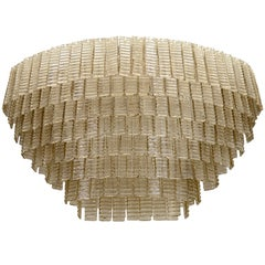 Impressively Large Venini Style, Smoke Murano Glass Chandelier