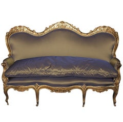 Breathtaking 19th c. Italian Giltwood Settee with Silk Taffeta