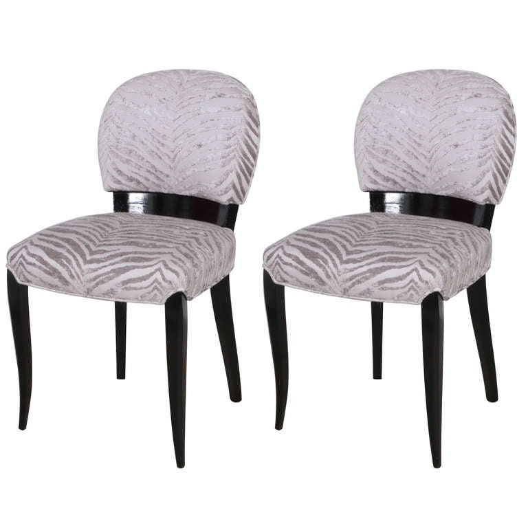 Luxurious Pair of Black Lacquer Art Deco Side Chairs 1