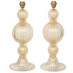 "Extraordinary Pair of ""Avventurina"" Italian Murano 23k Gold Glass Lamps"