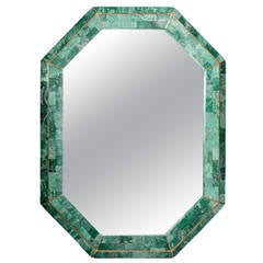 Tessellated Green Stone Octagonal Mirror with Brass Inlays Signed Maitland-Smith