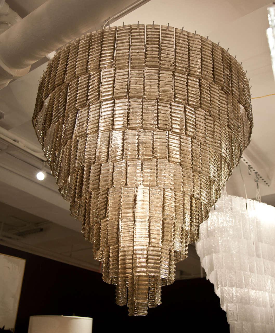 Mid Century Modern Large Venini Style Smoke Murano Glass Round Chandelier For