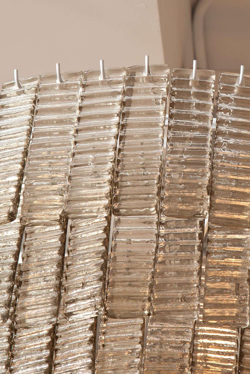 Large Venini Style Smoke Murano Glass Round Chandelier 8