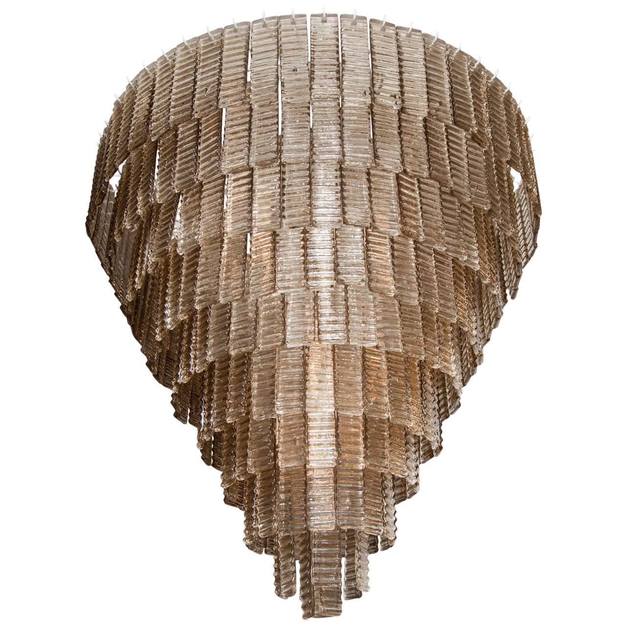 Large Venini Style Smoke Murano Glass Round Chandelier