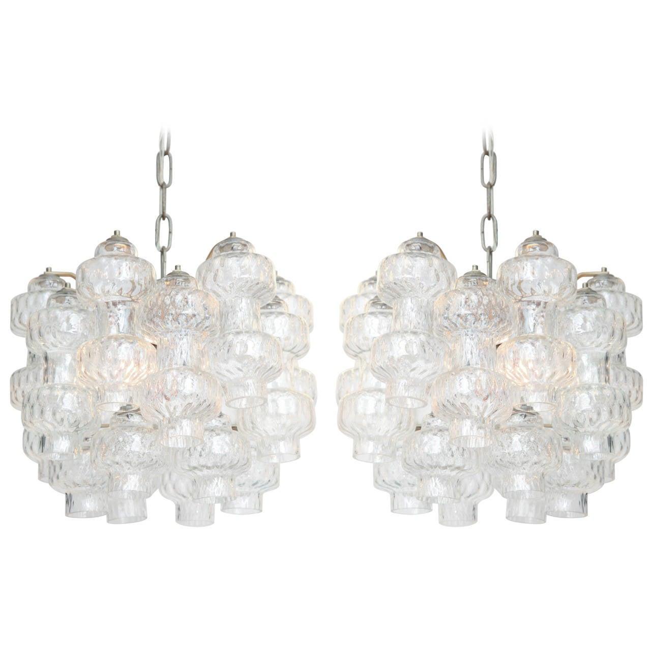 Pair of Carlo Scarpa Style Murano Glass and Chrome Pendants 1