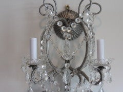 Exquisite Pair of Silver Finished Italian Beaded Crystal Sconces thumbnail 2