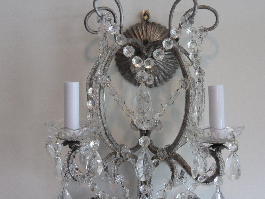 Exquisite Pair of Silver Finished Italian Beaded Crystal Sconces 2