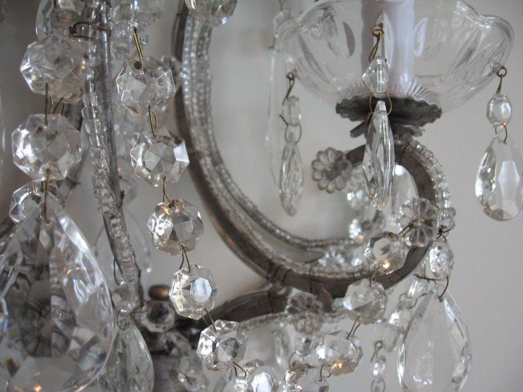 Exquisite Pair of Silver Finished Italian Beaded Crystal Sconces 3