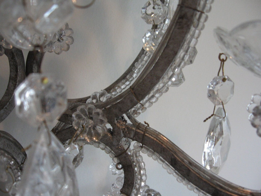 Exquisite Pair of Silver Finished Italian Beaded Crystal Sconces 5