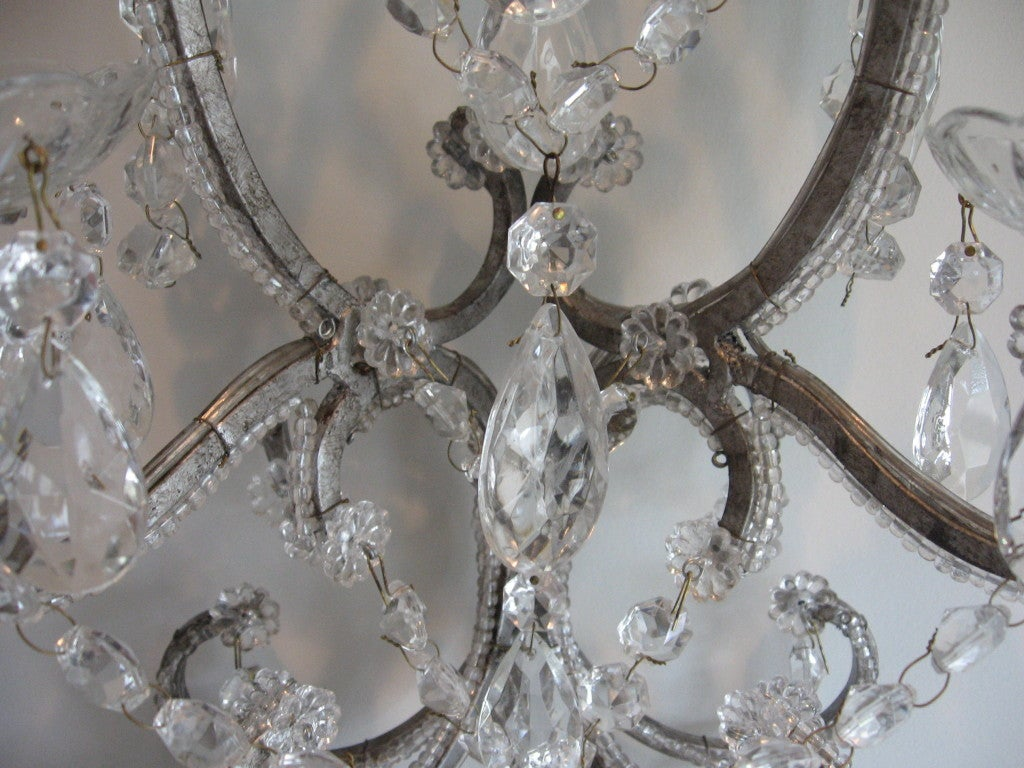Exquisite Pair of Silver Finished Italian Beaded Crystal Sconces 6