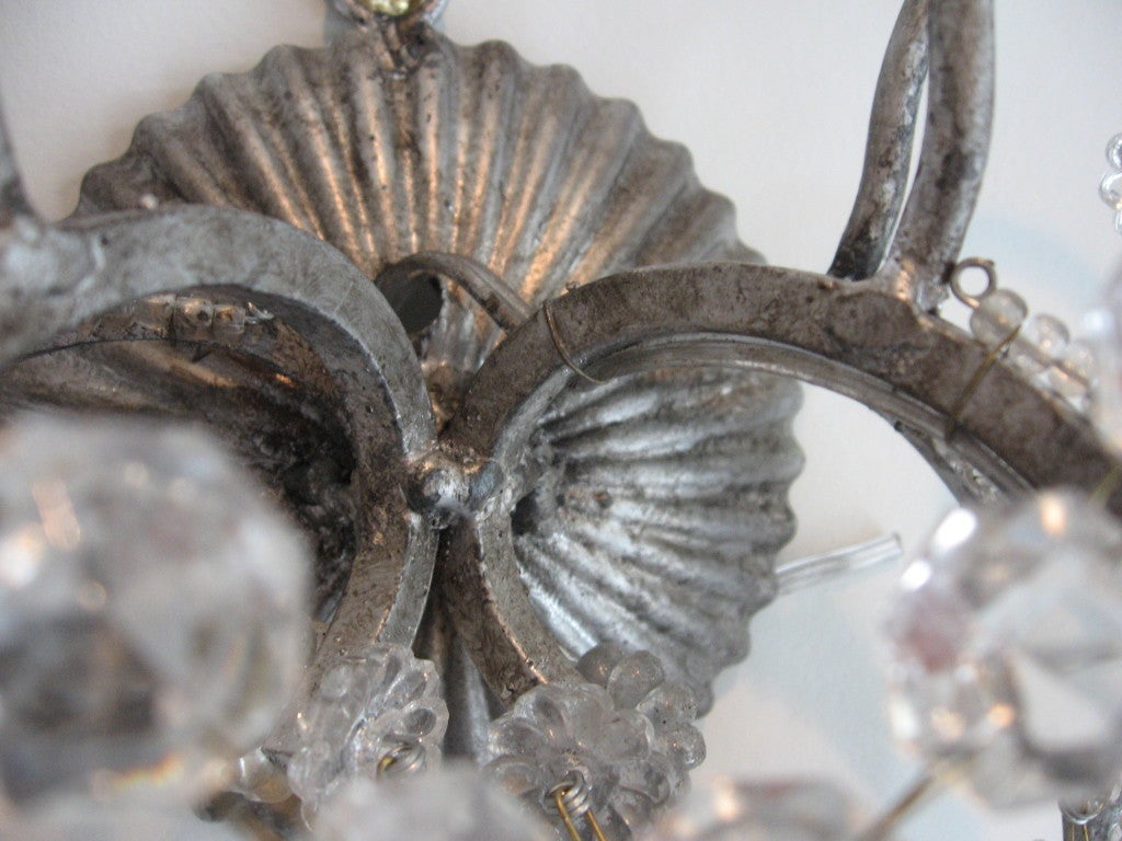 Exquisite Pair of Silver Finished Italian Beaded Crystal Sconces 7