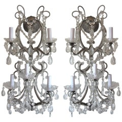 Exquisite Pair of Silver Finished Italian Beaded Crystal Sconces thumbnail 1