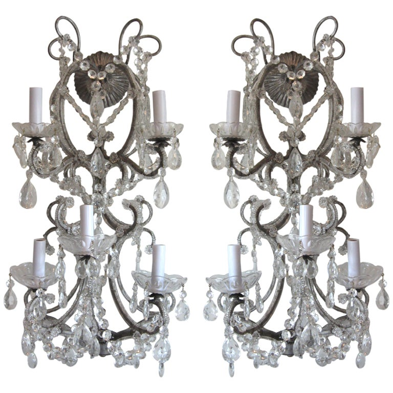 Exquisite Pair of Silver Finished Italian Beaded Crystal Sconces