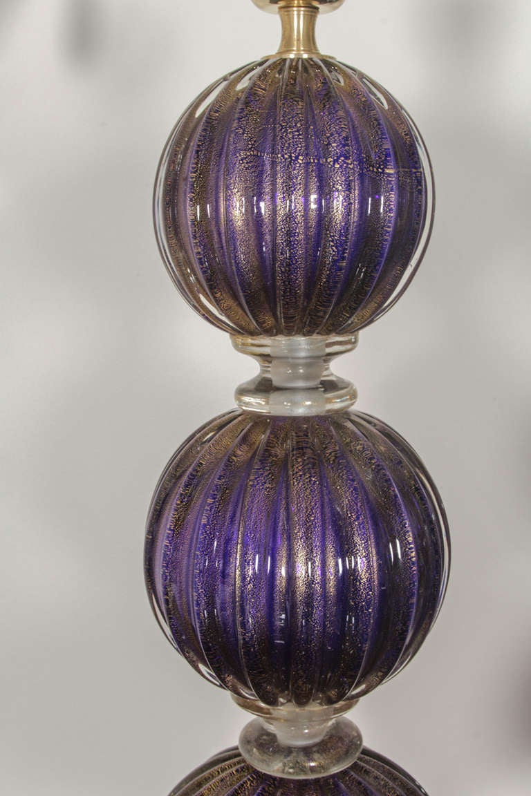 Unique Pair of Italian Purple with 23-Karat Gold Murano Glass Lamps For Sale 2