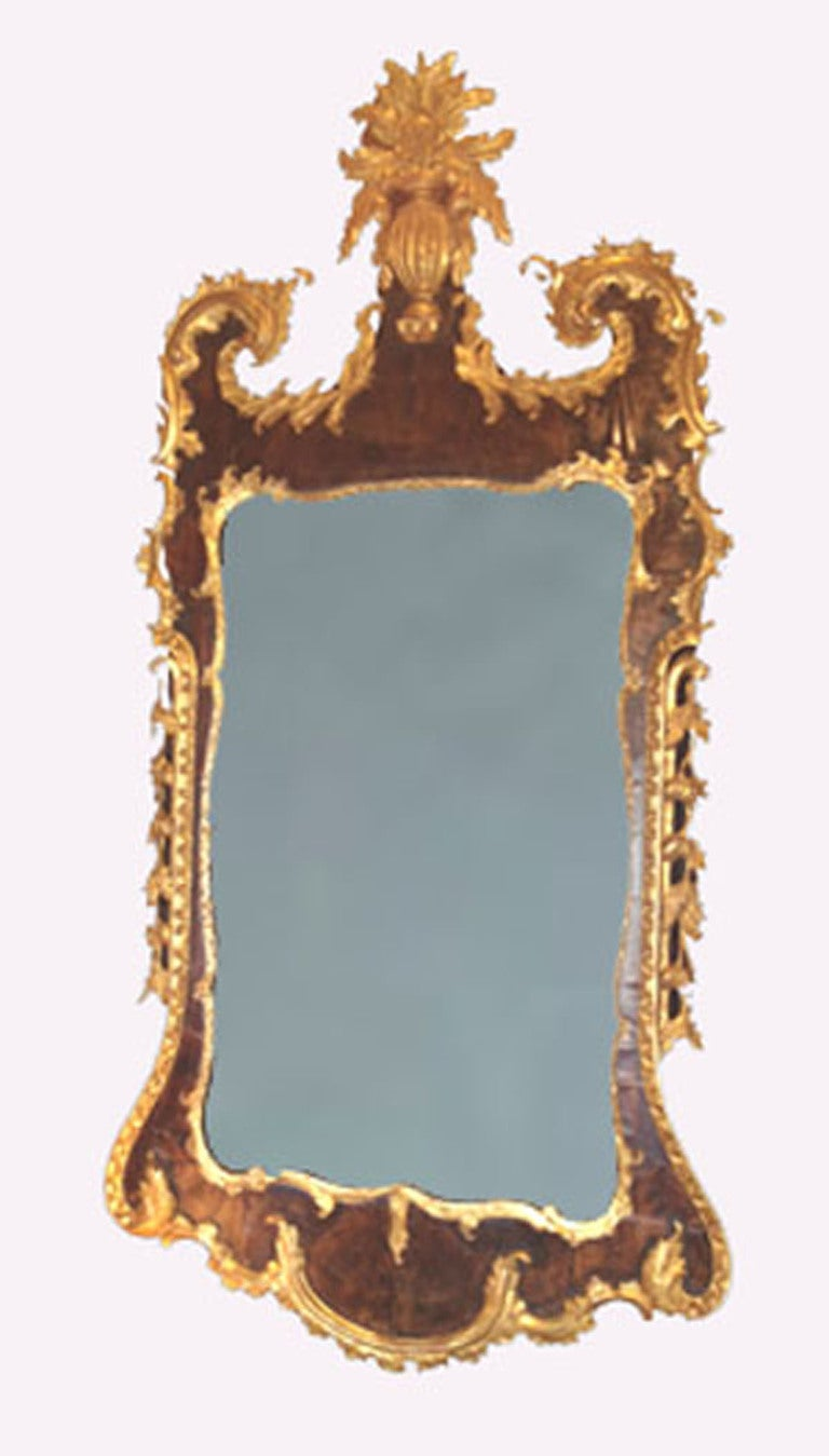 18th C George Ii Walnut And Parcel Gilt Looking Glass Ex