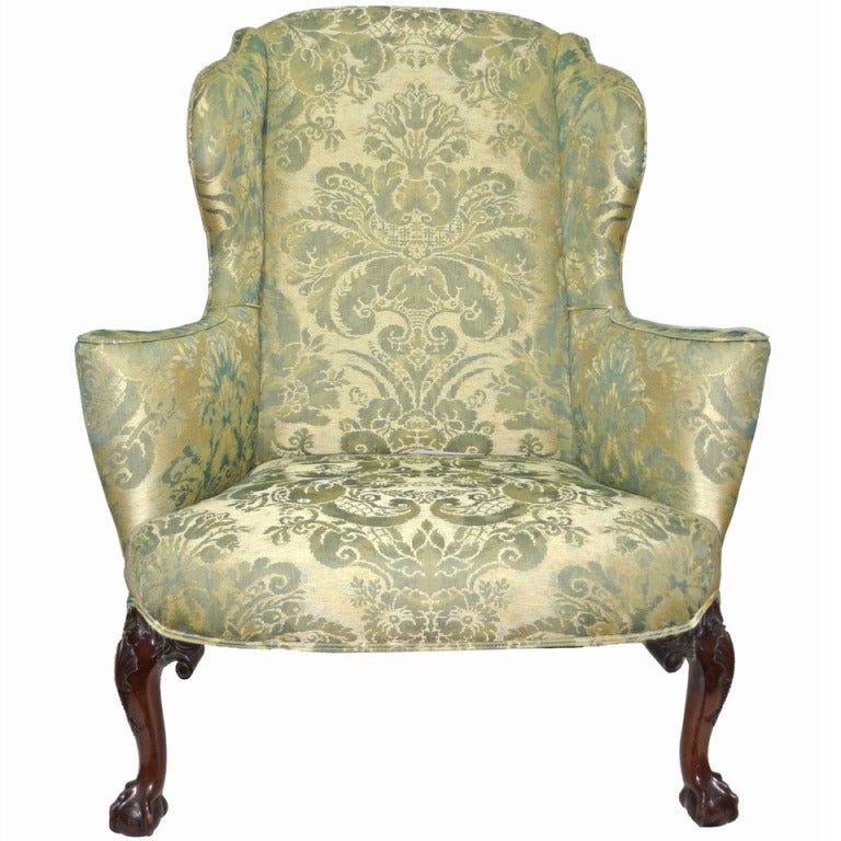 George III Style Carved Mahogany Wing Chair at 1stdibs