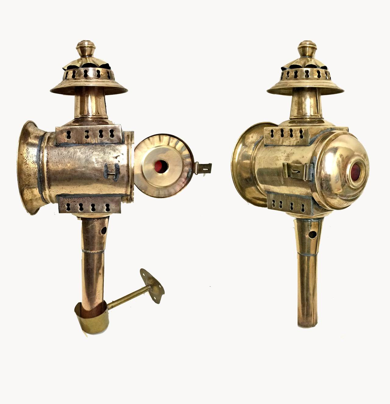 Pair Of American Brass Carriage Lamps 19th Century For