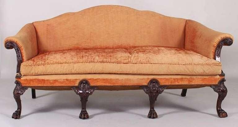 19th century irish chippendale style mahogany camel back sofa at 1stdibs Camel back sofa