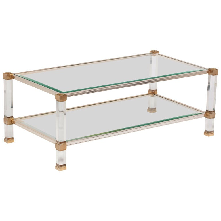Pierre Vandel Lucite, Glass And Brass Coffee Table At 1stdibs