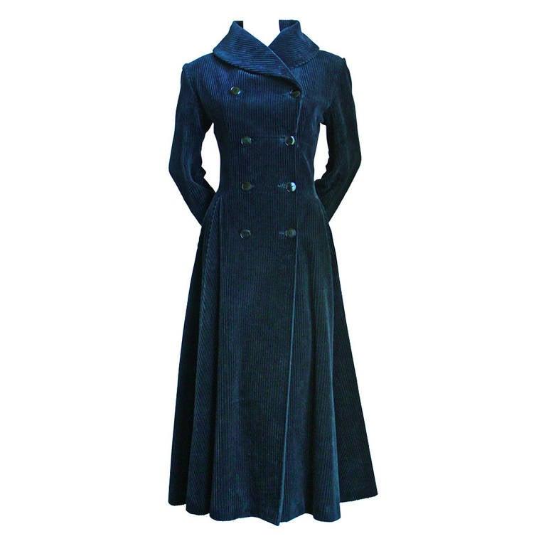1980's AZZEDINE ALAIA midnight blue wide wale corduroy coat 1
