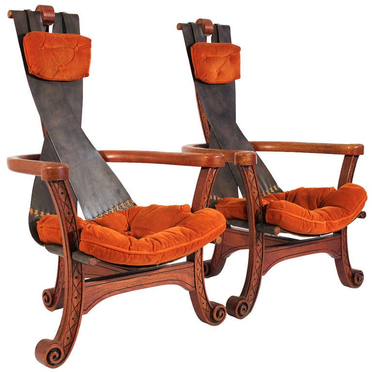 Unusual Leather Sling Lounge Chair Pair at 1stdibs