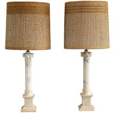Carved Marble Pillar Lamps W/ Maria Kipp Shades