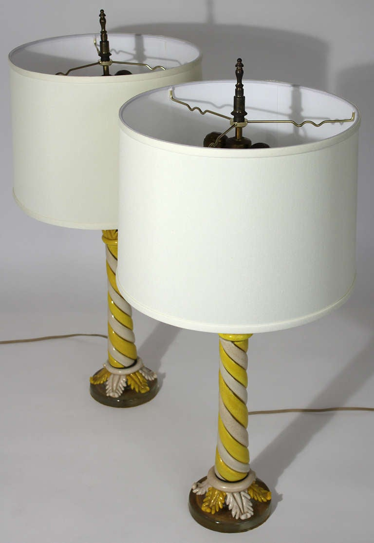 Hollywood Regency Murano Pair of Table Lamps For Sale