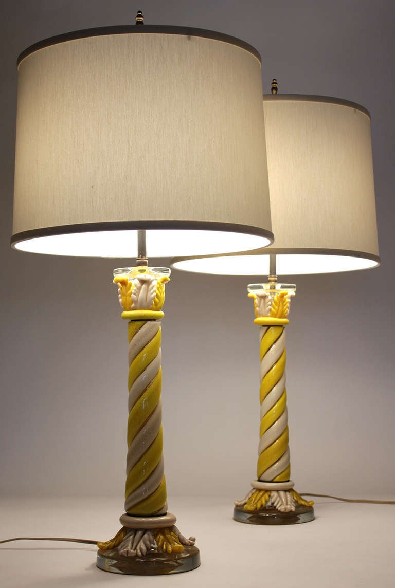 Italian Murano Pair of Table Lamps For Sale