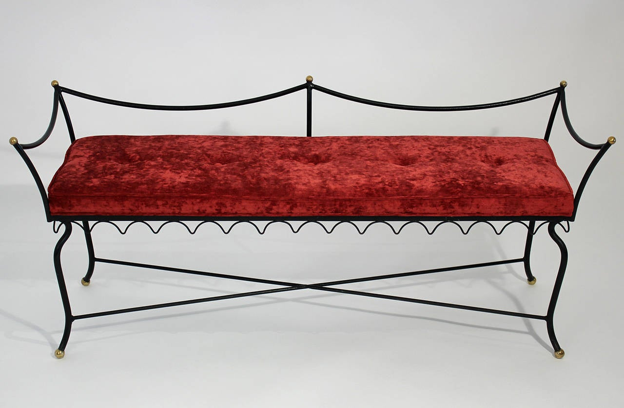 Wrought Iron And Brass Boudoir Bench At 1stdibs